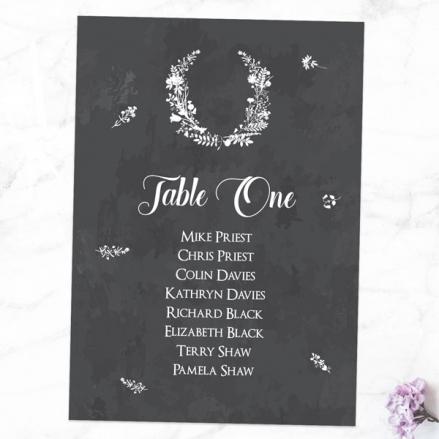 Boho Chalkboard Flowers - Table Plan Cards