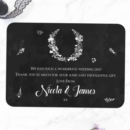 Boho Chalkboard Flowers - Wedding Thank You Cards