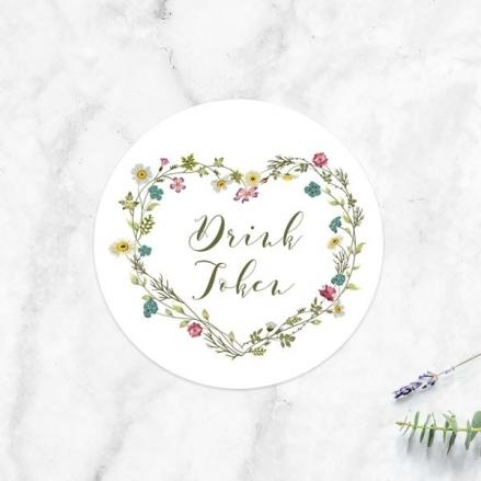 Botanical Heart - Drink Tokens - Pack of 30
