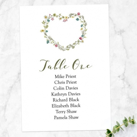Botanical Heart - Table Plan Cards