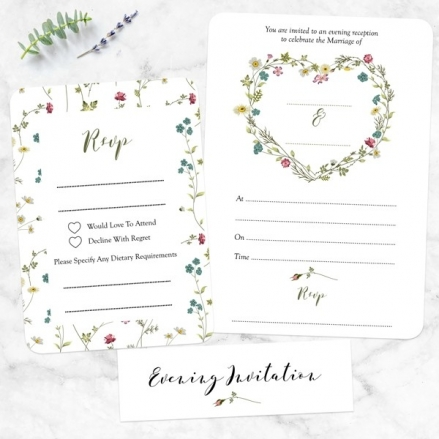 Botanical Heart - Ready to Write Evening Invitations & RSVP