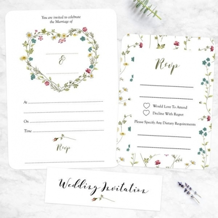 Botanical Heart - Ready to Write Wedding Invitations & RSVP