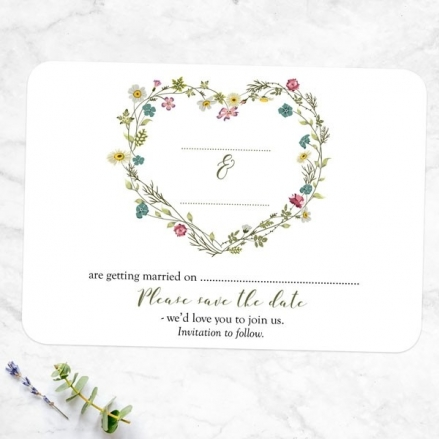 Botanical Heart - Ready to Write Save the Date Cards