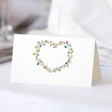 Botanical Heart - Ready to Write Wedding Place Cards