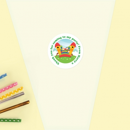 Bouncy Castle Birthday Party - Sweet Cone Bag & Sticker - Pack of 35
