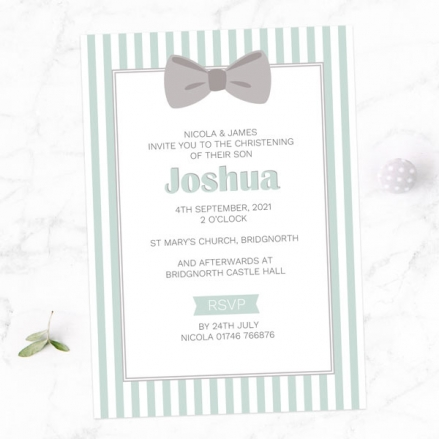Christening Invitations - Bow Tie Stripes - Pack of 10