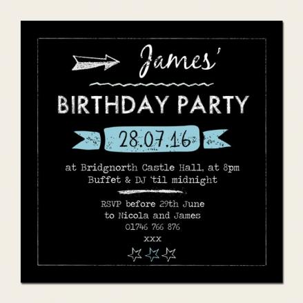 Personalised Kids Birthday Invitations - Boys Chalkboard - Pack of 10