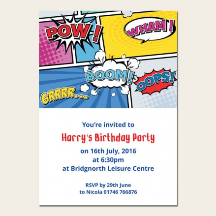 Personalised Kids Birthday Invitations - Boys Comic Party - Pack of 10