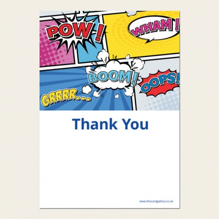 Ready to Write Kids Thank You Cards - Boys Comic Party