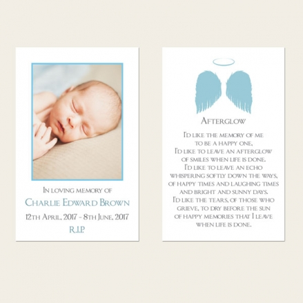 Funeral Memorial Cards - Boys Halo & Angel Wings