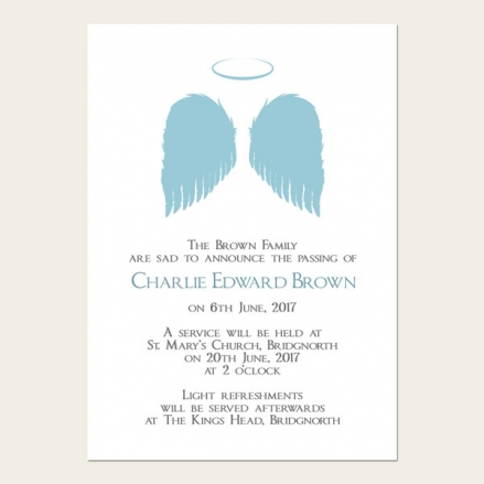 Funeral Announcement Cards - Boys Halo & Angel Wings