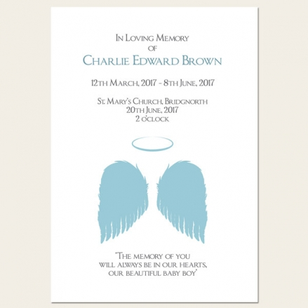 Funeral Order of Service - Boys Halo & Angel Wings