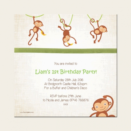 1st Birthday Invitations - Boys Monkey