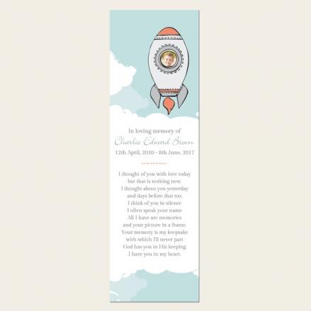 Funeral Bookmark - Boys Space Rocket