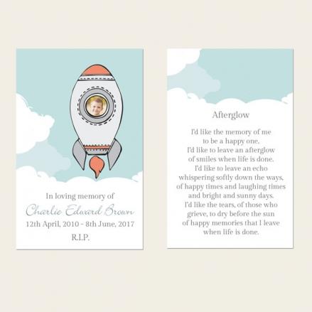 Funeral Memorial Cards - Boys Space Rocket