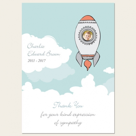 Funeral Thank You Cards - Boys Space Rocket