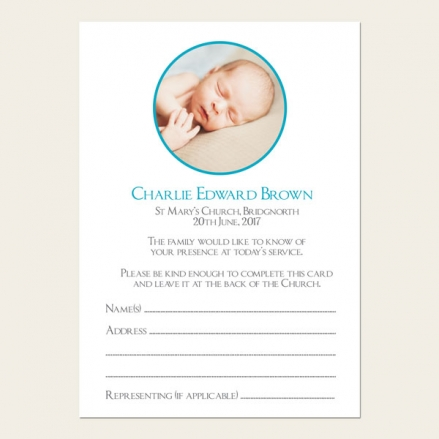 Funeral Attendance Cards - Boys Traditional Photo