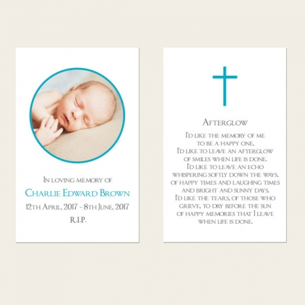 Funeral Memorial Cards - Boys Traditional Photo
