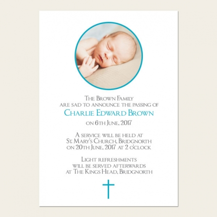 Funeral Announcement Cards - Boys Traditional Photo