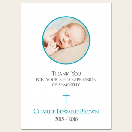 Funeral Thank You Cards - Boys Traditional Photo
