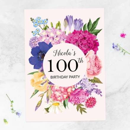 100th Birthday Invitations - Bright Summer Flowers - Pack of 10