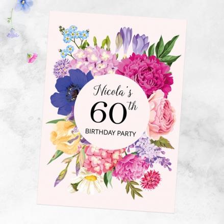 60th Birthday Invitations - Bright Summer Flowers