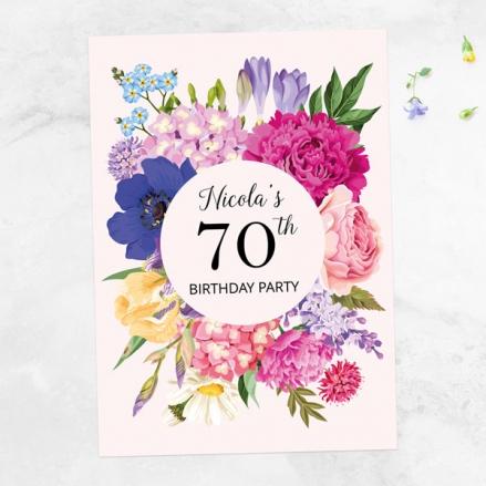 70th Birthday Invitations - Bright Summer Flowers
