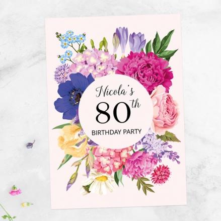 80th Birthday Invitations - Bright Summer Flowers