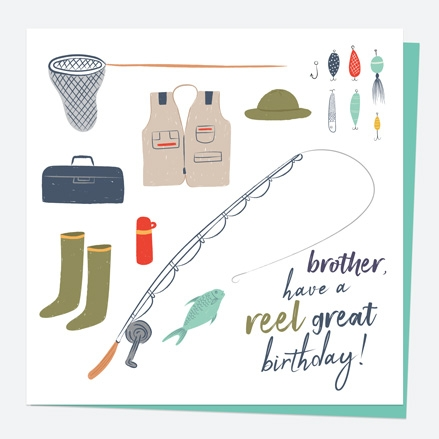 Brother Birthday Card - Fishing - Reel Great - Brother