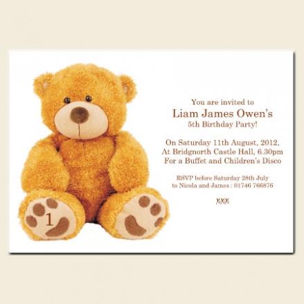 1st Birthday Invitations - Brown Bear