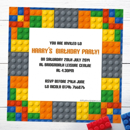 Personalised Kids Birthday Invitations - Building Bricks - Pack of 10