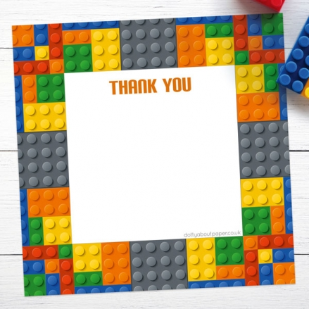 Ready to Write Kids Thank You Cards - Building Bricks