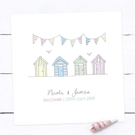 Bunting & Beach Huts - Save the Date Cards