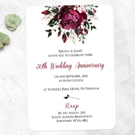 30th Wedding Anniversary Invitations - Burgundy Peony Bouquet