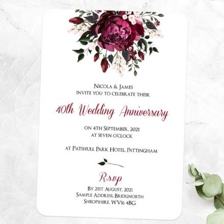 40th Wedding Anniversary Invitations - Burgundy Peony Bouquet