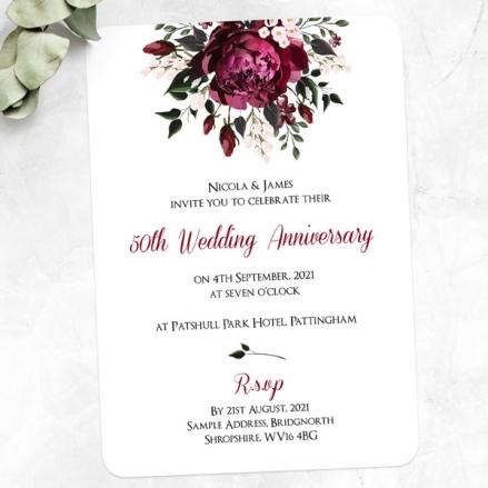 50th Wedding Anniversary Invitations - Burgundy Peony Bouquet