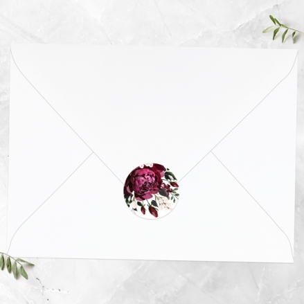 Burgundy Peony Bouquet - Wedding Envelope Seals
