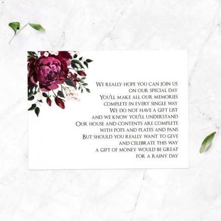 Burgundy Peony Bouquet - Gift Poem Cards