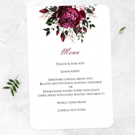Burgundy Peony Bouquet - Wedding Menus