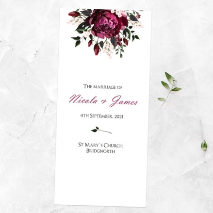 Burgundy Peony Bouquet - Order of Service Concertina