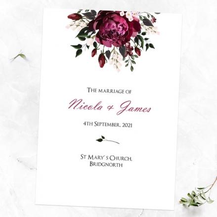 Burgundy Peony Bouquet - Wedding Order of Service