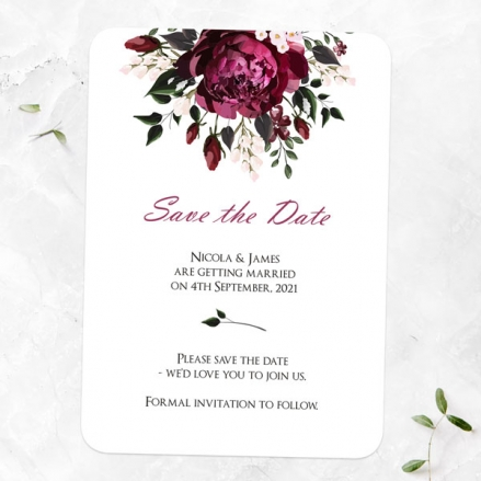 Burgundy Peony Bouquet - Save the Date Cards