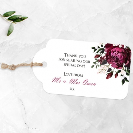 Burgundy Peony Bouquet - Favour Tags