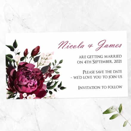 Burgundy Peony Bouquet - Save the Date Magnets