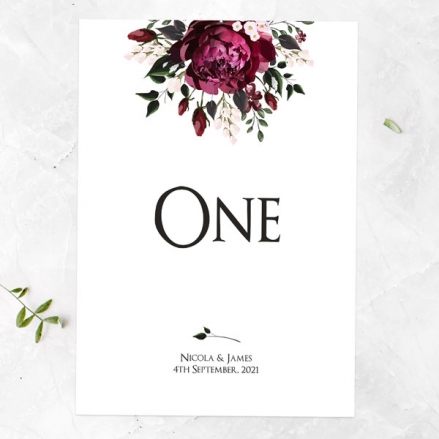 Burgundy Peony Bouquet - Table Name/Number