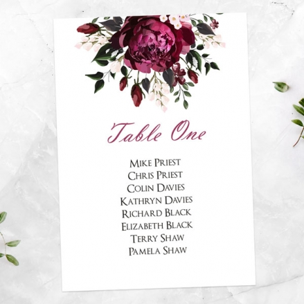 Burgundy Peony Bouquet - Table Plan Cards