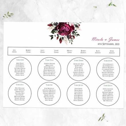 Burgundy Peony Bouquet - Table Plan