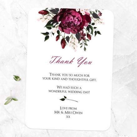 Burgundy Peony Bouquet - Wedding Thank You Cards