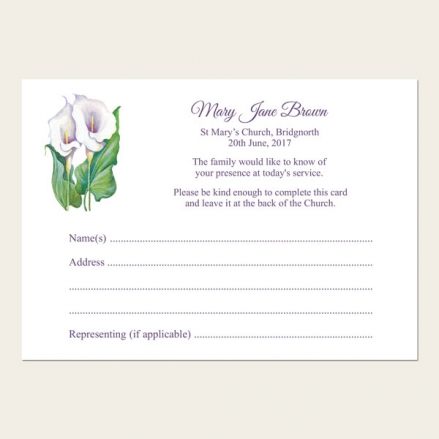 Funeral Attendance Cards - Calla Lilies