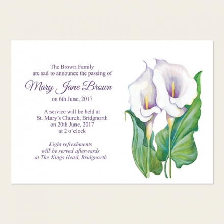 Funeral Announcement Cards - Calla Lilies